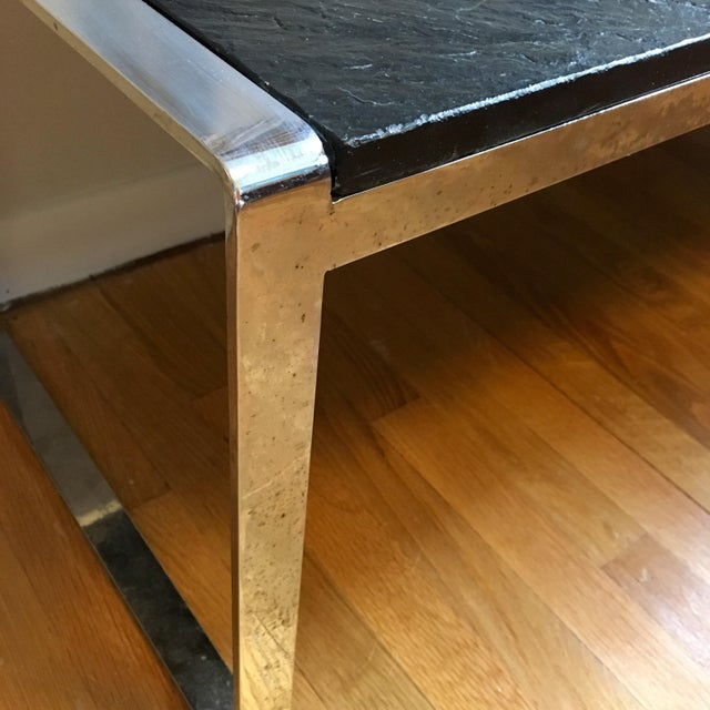 Silver Mid Century Stainless Steel & Slate Bench For Sale - Image 8 of 9