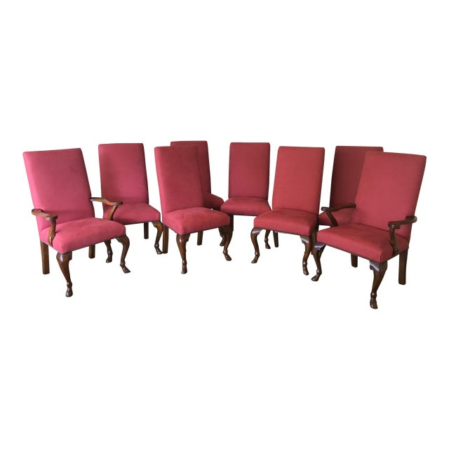 Ralph Lauren Red Fabric Dining Chairs - Set of 8 - Image 1 of 6
