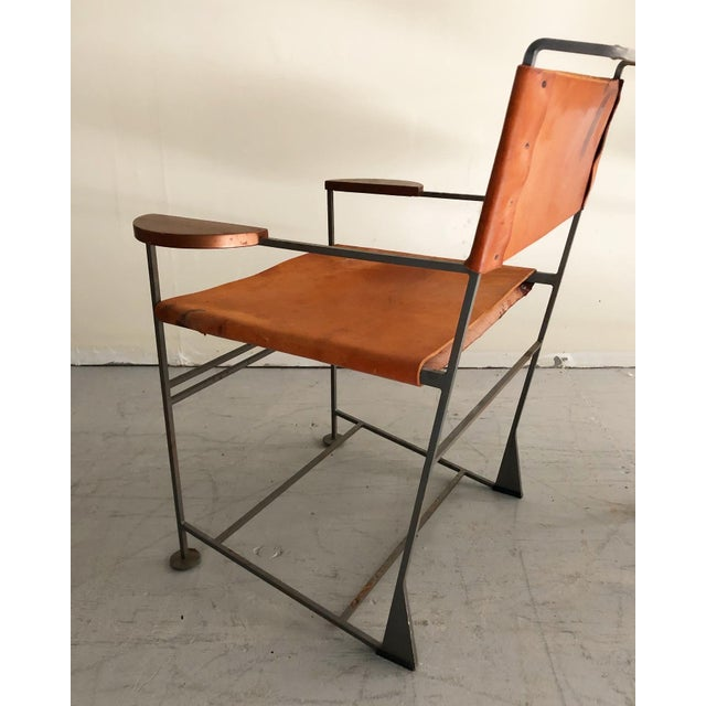 Kevin Walz Post Modern Leather & Iron Lounge Chairs- A Pair For Sale - Image 4 of 8