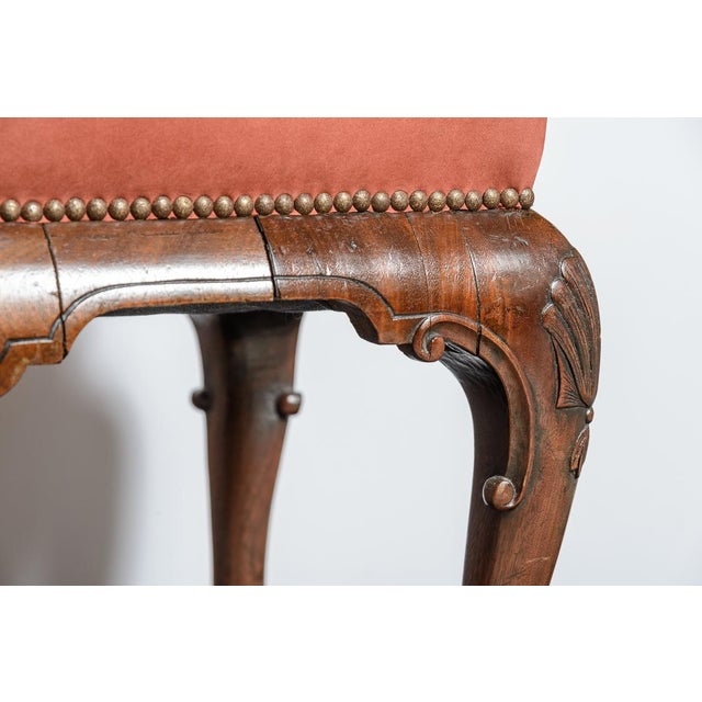 English walnut, Queen Anne style stool. Suede upholstered