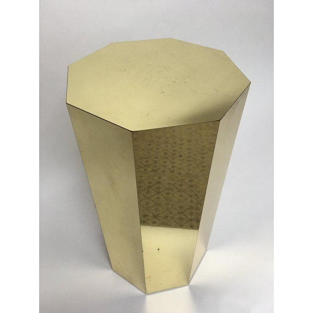 Contemporary Paul Evans Style Octagonal Brass Pedestal For Sale - Image 3 of 9