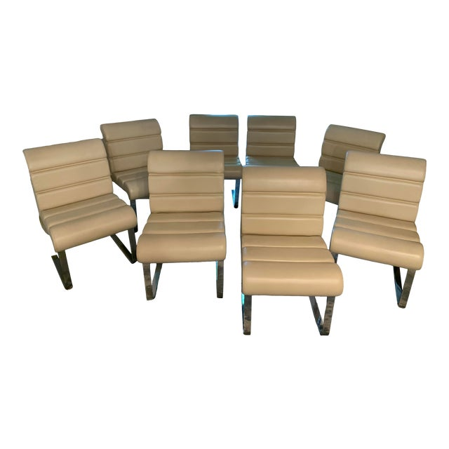 Mariani Laguna Pace Cantilevered Chrome and Leather Dining Chairs - Set of 8 For Sale