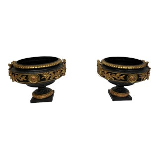 Late 19th Century Victorian Black and Gold Cast Iron Urns - a Pair For Sale