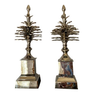 """""""Pommes de Pin"""" Pinecones in Nickel - a Pair For Sale"""