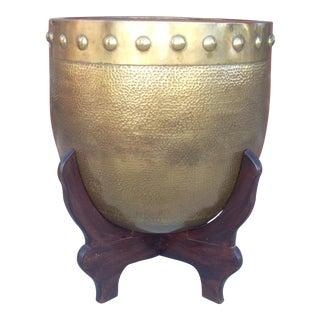 Vintage Brass Cachepot on Stand