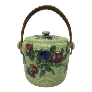 1940s Vintage Basket Weave Lidded Jar With Handle For Sale
