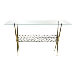 Mid-Century Glass-Topped Console