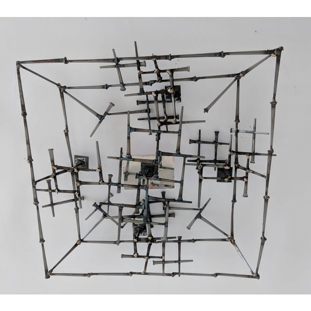 Abstract Brutalist Metal Wall Sculpture - Image 5 of 6