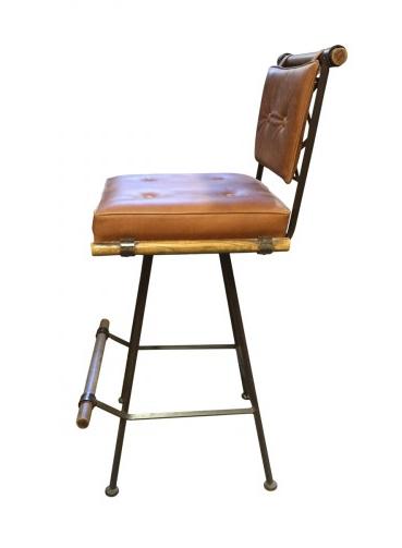 Cleo Baldon Iron Amp Leather Swivel Stool Chairish