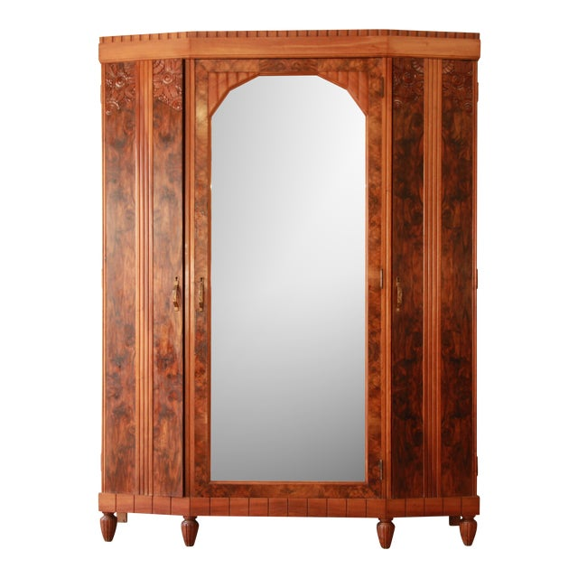 Vintage French Art Deco Burl Wood Mirrored Front Knockdown Wardrobe - Image 1 of 11