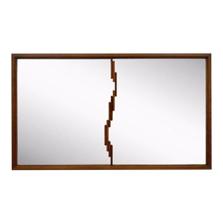 Vintage Mid Century Modern Brutalist Walnut Wall Dresser Mirror Danish Style For Sale