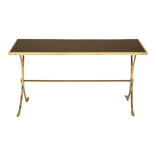 French Solid Brass & Black Coffee Table For Sale