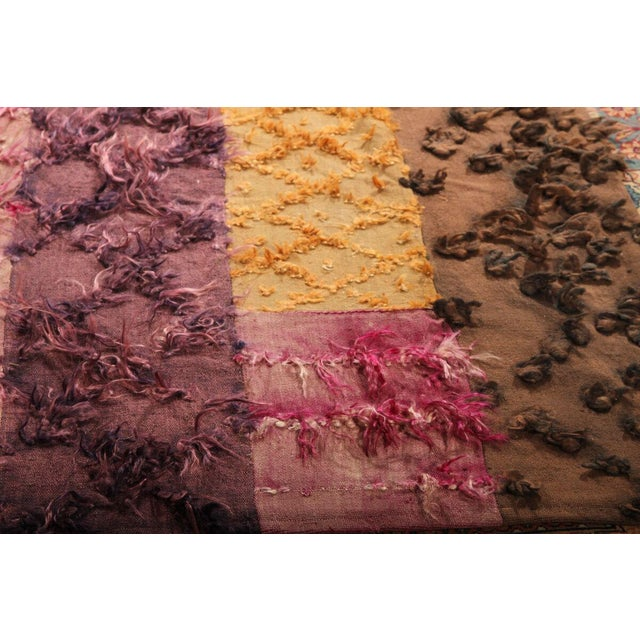 Moroccan Hand Knotted Pile & Flat Vintage Rug - 6′8″ × 9′9″ For Sale - Image 3 of 6
