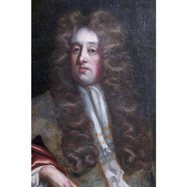 Gray 18th Century Oil on Canvas Portrait of an English Gentleman For Sale - Image 8 of 13