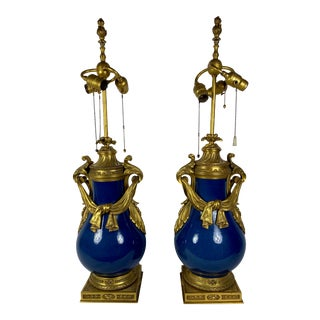 Louis XV Style Powder Blue Urns as Lamps - a Pair For Sale