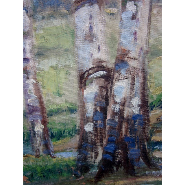 Red Vintage 1930-1940s Wallace Howard Signed Birch Forest Landscape Oil Painting on Canvas For Sale - Image 8 of 11