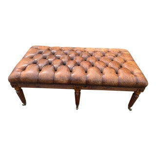 English 19th Century Leather Tufted Ottoman With Studs For Sale