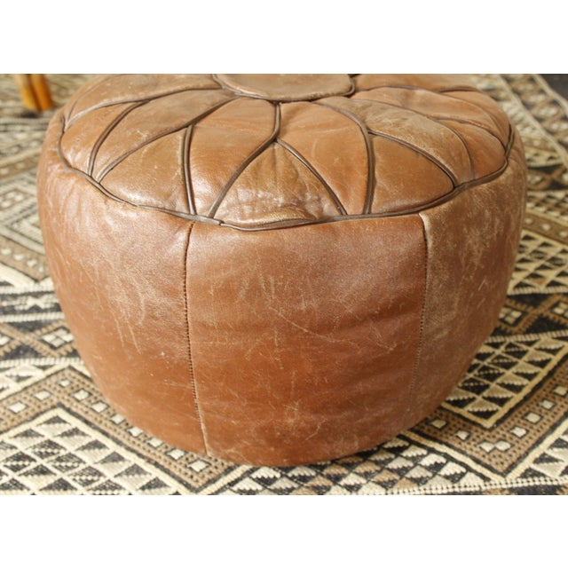Vintage Brown Leather Floor Pouf - Image 5 of 7
