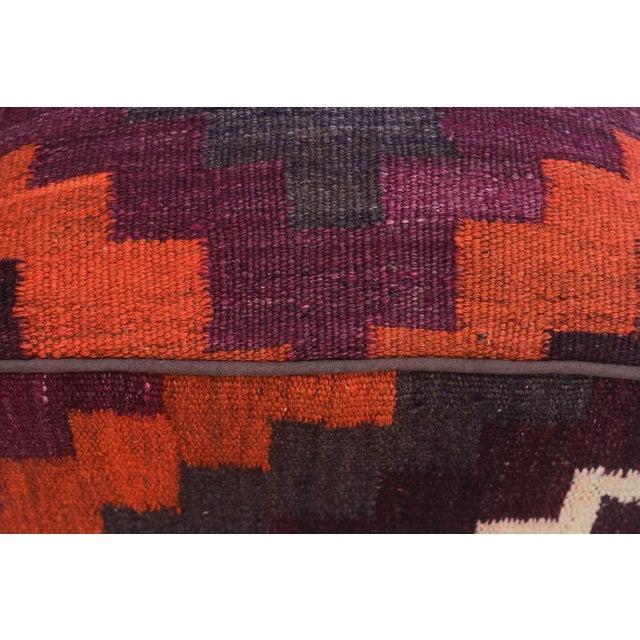 Arshs Dorian Purple/Orange Kilim Upholstered Handmade Ottoman For Sale In New York - Image 6 of 8