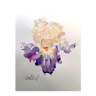 Lavender Iris, Original Watercolor 11x15""