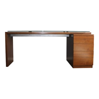 Mid-Century Modern Wooden Tanker Desk With 3 Drawers