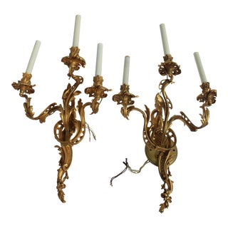 French Louie XIV Style Bronze Cast Wall Sconces - a Pair For Sale