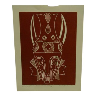 """1976 Limited Edition """"Linquit Bakoton Mask"""" Signed (37/125) Print by Lester Hines"""