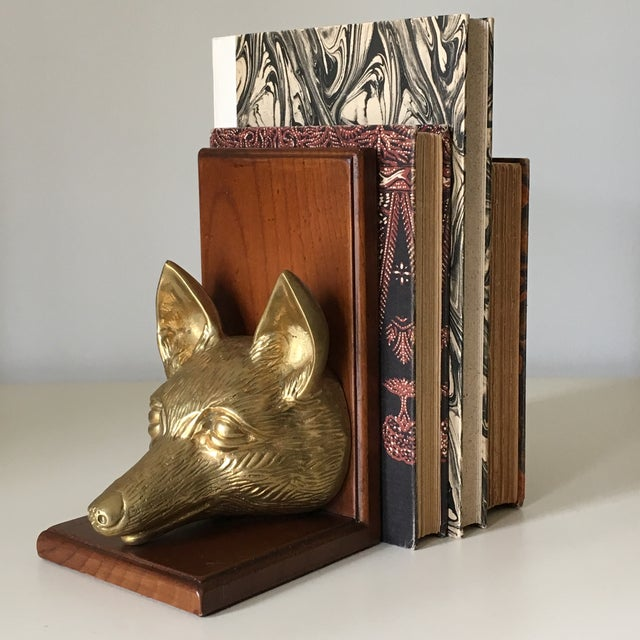 Vintage Fox Head Sculptural Brass & Wood Bookend - Image 2 of 6