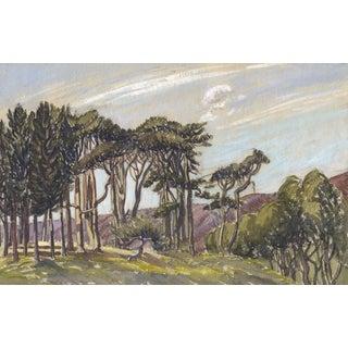 Original Vintage Breezy California Pacific Coast Watercolor Painting