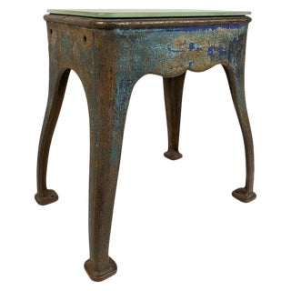 Antique Cast Iron Industrial Table Base With Antique Glass Mirror Top For Sale