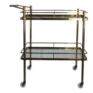 Vintage Mid-Century Modern Brass and Glass Bar Cart For Sale