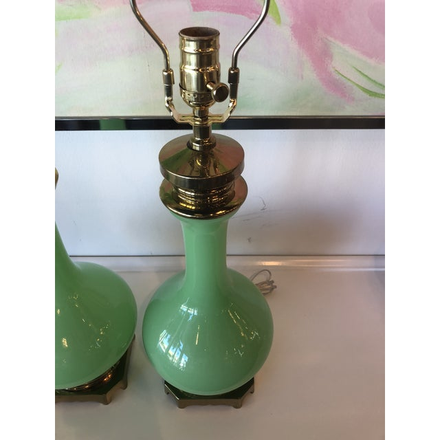 Paul Hanson Vintage Paul Hanson Green Jadeite Glass, Brass Table Lamps - A Pair For Sale - Image 4 of 10