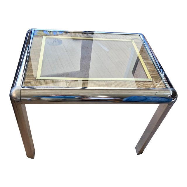 Vintage Chrome Glass Top Side Table For Sale