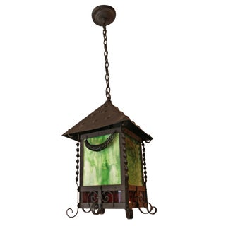 Iron Hanging Lantern With Stained Glass For Sale