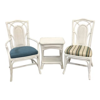 Shabby Chic Braxton Culler Baywalk Dining Chairs and Table - 3 Pieces For Sale