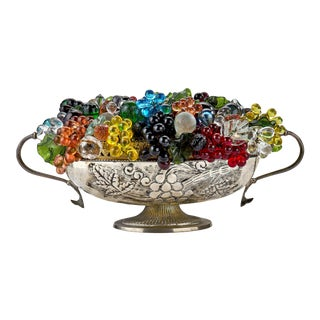 Antique Silver Serving Bowl Converted to Lamp With Murano Glass Grapes, Fruits and Leaves For Sale