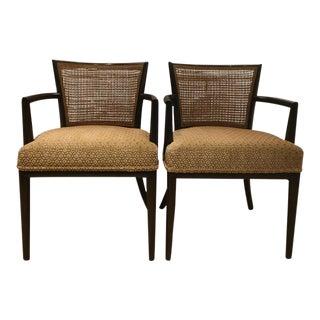 1950s Asian Modern T.H. Robsjohn-Gibbings Cane-Backed Chairs - a Pair