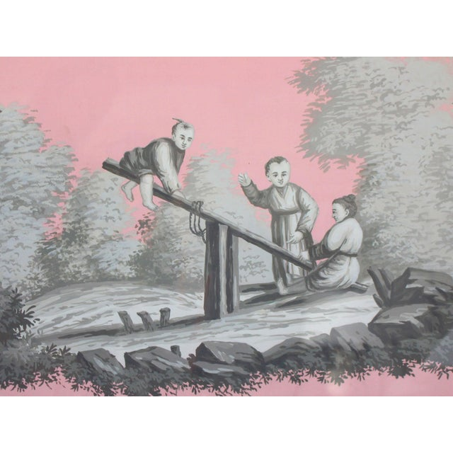 This horizontal painting in grisailles on pink silk is clearly derived from the works ofJean-Baptiste Pillement (24 May...