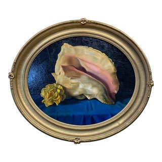 1970s Vintage Oval Conch Shell Painting For Sale