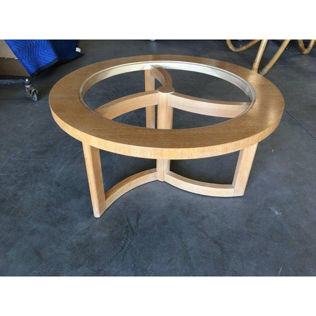 Round Scandinavian Spindle Coffee Table in Oak With Glass Top For Sale - Image 4 of 6