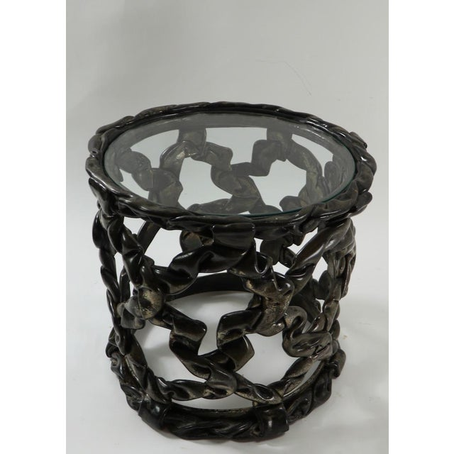 Brutalist Drum Table of Resin and Glass For Sale In New York - Image 6 of 10