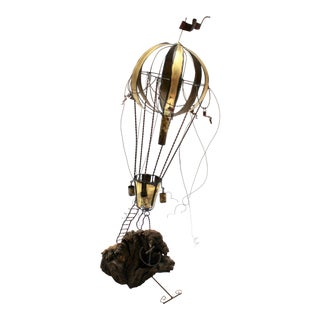 Mid-Century Brutalist Brass and Wood Hot Air Balloon Sculpture For Sale