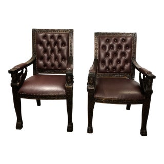 Antique Oak Carved Arm Chairs - a Pair For Sale