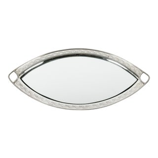 Antique Footed English Silver Plate Oval Tray With Insert Mirror For Sale