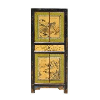 Chinese Oriental Green Creamy Black Scenery Slim Storage Cupboard Cabinet