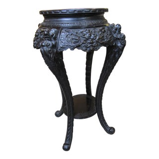 Antique Ebonized Carved Wood Chinese Plant Stand For Sale