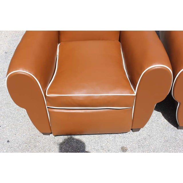 French Art Deco Vinyl Club Chairs - A Pair - Image 4 of 7