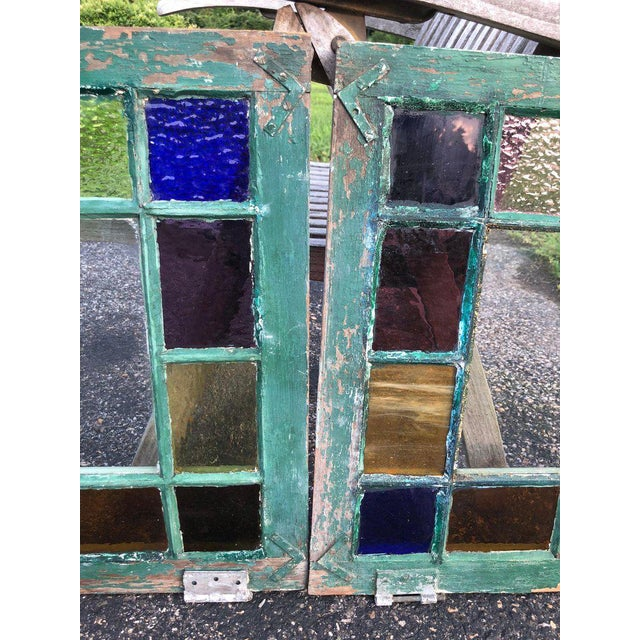 Metal Stained Glass Windows - a Pair For Sale - Image 7 of 13