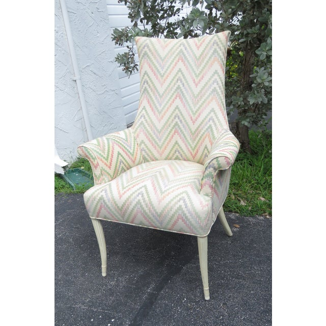 Vintage Painted Tall Pair of Living BedRoom Fireplace Side Chairs For Sale - Image 12 of 13