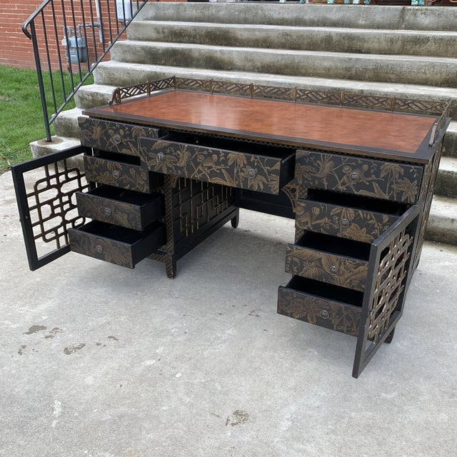Brown Drexel Heritage Mandalay Chinoiserie Desk For Sale - Image 8 of 13